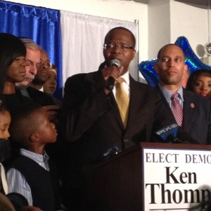 Ken Thompson addressing his supporters tonight.
