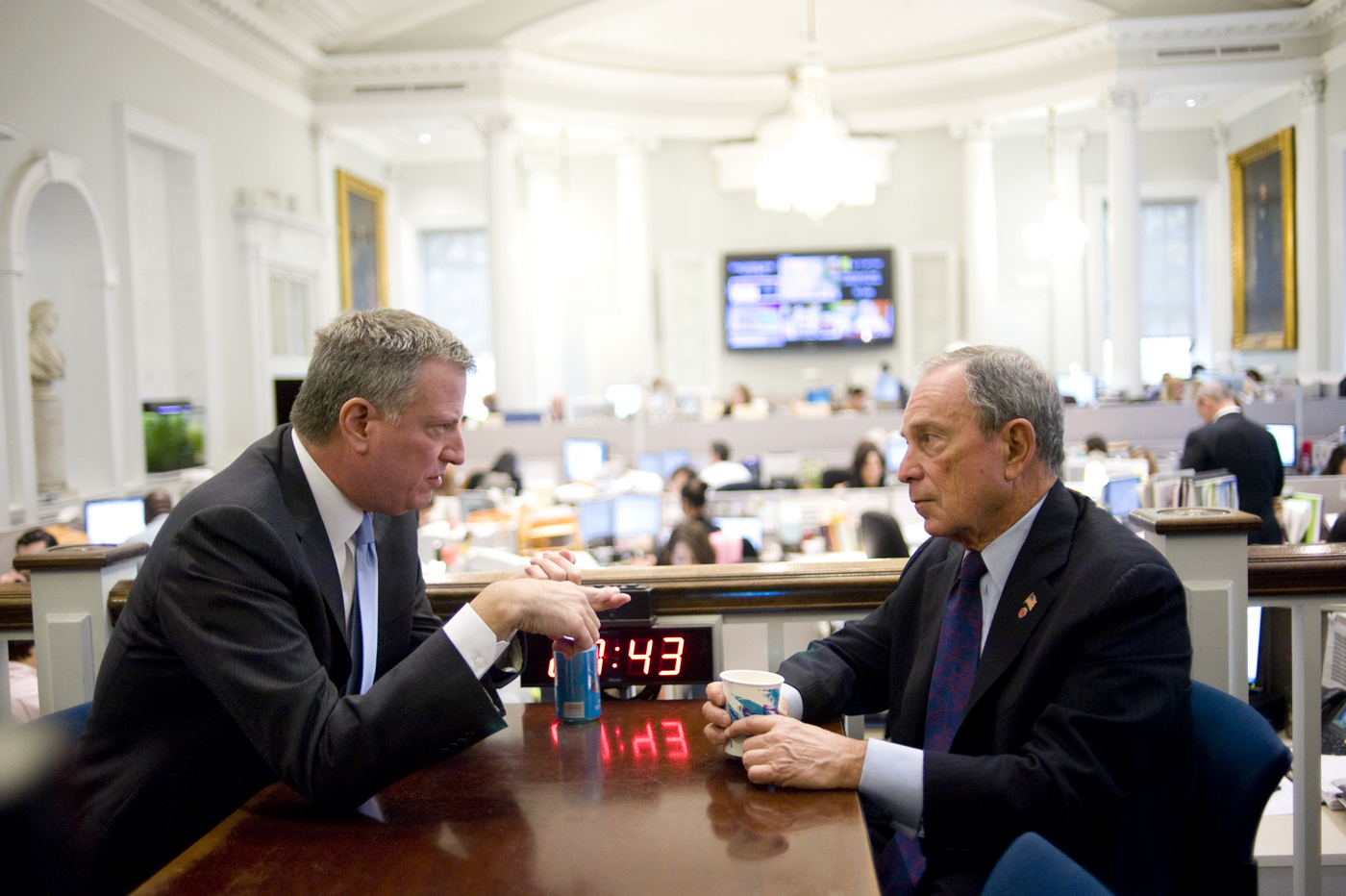 May-elect Bill de Blasio and Mayor Michael Bloomberg. (Photo: William Alatriste)