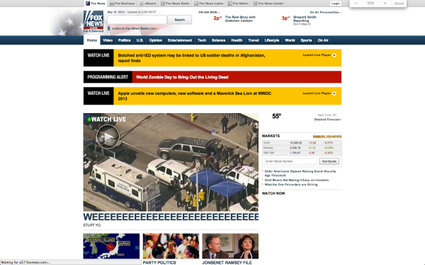 Foxnews.com's homepage, as of 2:57 p.m.