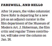 J. Hoberman/ New York Times