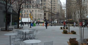 Willoughby Plaza, the center of a downtown Brooklyn community kerfuffle.