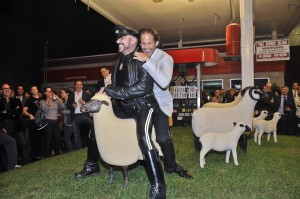 This is art: Michael Shvo and Peter Marino riding a sheep together. (Patrick McMullan)