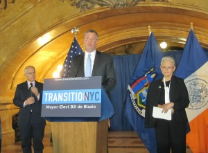 Bill de Blasio announcing the appointment of  Lilliam Barrios-Paoli as his deputy mayor.