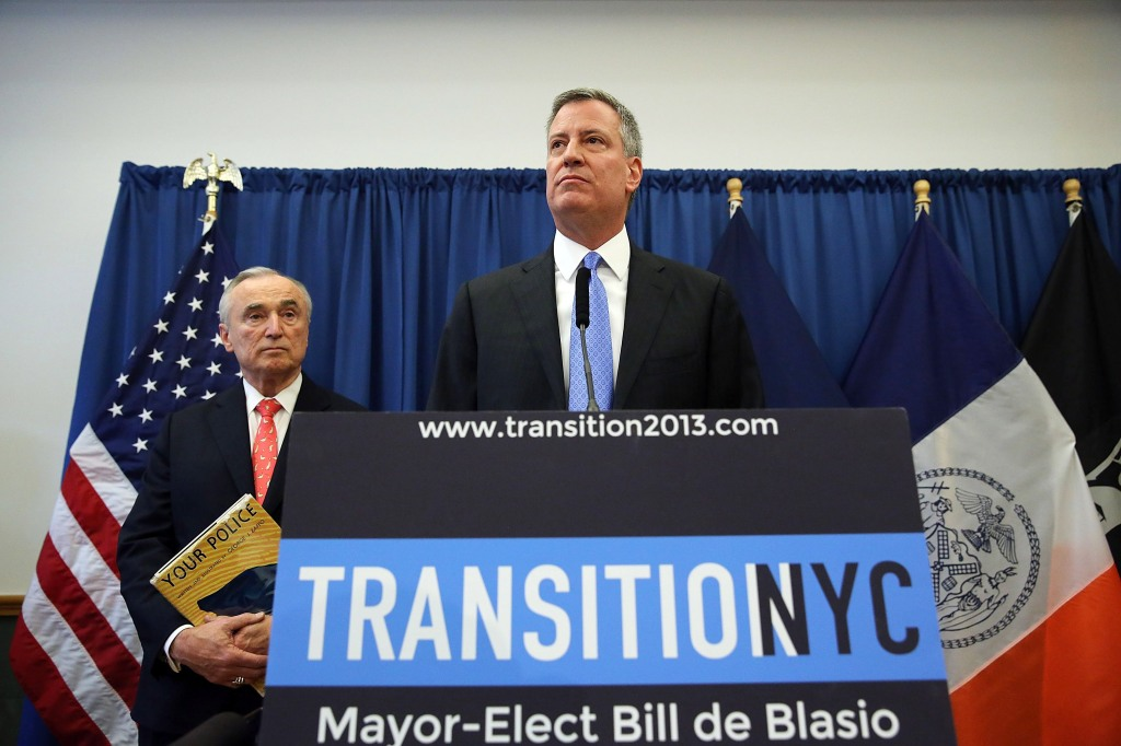 Bill de Blasio and Bill Bratton at the announcement event. (Photo: Spencer Platt/Getty)