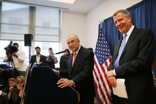 Mayor Bill de Blasio, right, with NYPD Commissioner Bill Bratton.