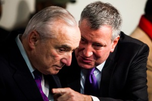 Bill Bratton and Bill de Blasio. (Photo: Christopher Gregory/Getty)