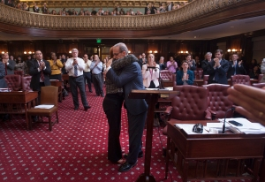 Councilman James Oddo hugs outgoing Speaker Christine Quinn at her final stated meeting. (Photo: William Alatriste/New York City Council)