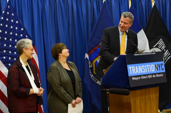 Bill de Blasio announcing his new ACS commissioner. (Photo: Twitter/ @NYCTransition)