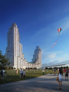 One hundred apartments in the new development will be set aside for senior citizens.
