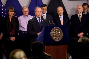 Mayor Bloomberg updating New Yorkers on the city's snowstorm responsein2011,with to snow storm with Sanitation Commissioner John Doherty, OEM Commissioner Joe Bruno and other