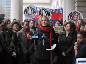 Gloria Steinem and other women's rights activists rallied today for Melissa Mark-Viverito.