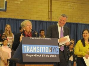 Bill de Blasio and his new schools chancellor, Carmen Farina.