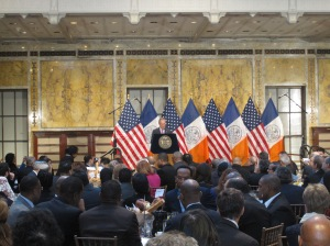Michael Bloomberg attending his final event as mayor this morning: an interfaith breakfast.
