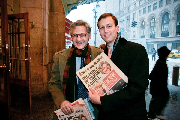 Peter Kaplan and Jared Kushner hawking papers at Grand Central Station the day after the launch of the tabloid format of the Observer, February 2007. (Photo courtesy of The New York Observer)