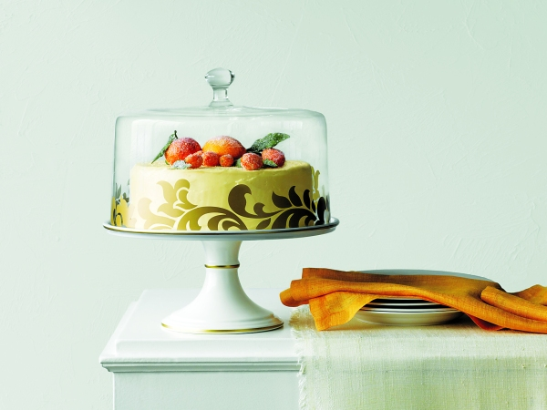 Martha Stewart Collection 12in Lisbon Gold Cake Stand and Dome, _129, available at select Macy's stores and macys.com