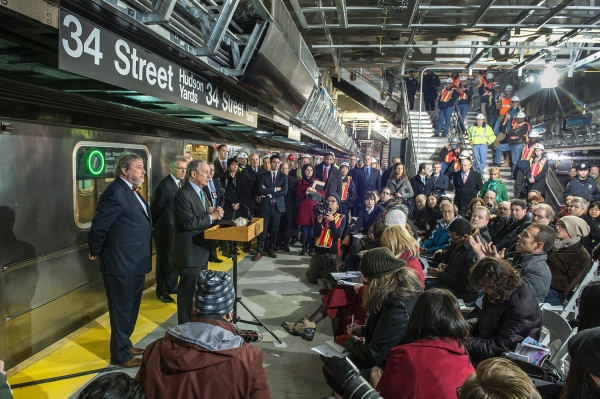 Mayor Michael Bloomberg after taking the first ride on the extension of the 7 Subway line. (Photo: MTA / Patrick Cashin)