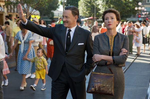 Tom Hanks as Walt Disney and Emme Thompson as P. L. Travers in Saving Mr. Banks.