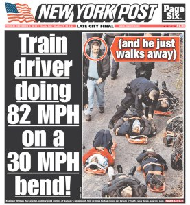 """The New York Post calls out the train driver: """"(and he just walks away)"""""""