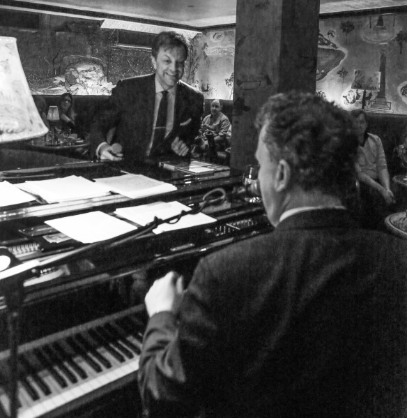 Billy Stritch, at right, with Jim Caruso at the Carlyle's Bemelmans Bar. (Photo by Stephen Sorokoff)