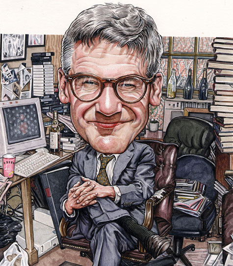 Peter Kaplan depicted in his legendarily messy office in the Townhouse, where the Observer was housed during its formative years.