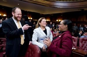 Councilman David Greenfield (left) with Speaker Melissa Mark-Viverito and Councilwoman Julissa Ferreras.