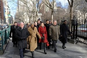 Council members Jimmy Van Bramer (left) and Julissa Ferreras (second from left) march with the eventual Council Speaker Melissa Mark Viverito to City Hall. (Photo: William Alatriste/NYC Council)