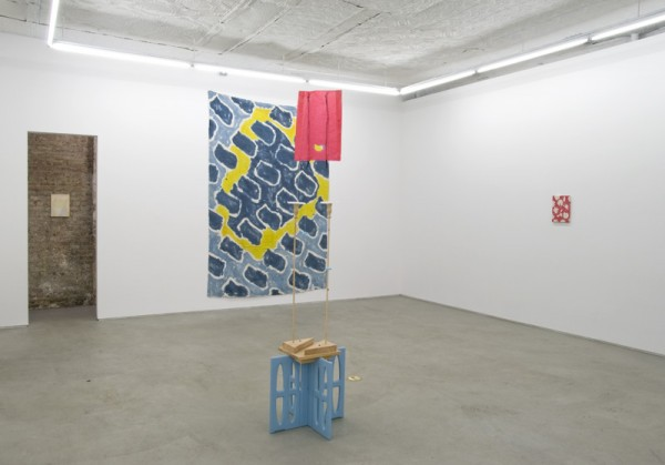 Installation view of works by Sebastian Black (painting in hallway), B. Wurtz (painting and sculpture at center) and Kyle Thurman (painting at right) at Gitlen. (Courtesy Laurel Gitlen  and Lisa Cooley)