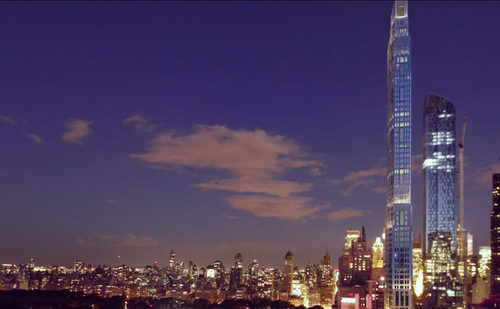 Note One57 and its ill-fated crane to the side. A subtle dig at Extell?