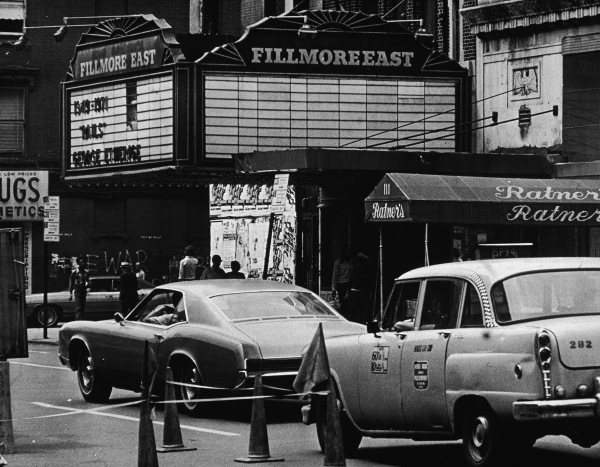 The Fillmore East, located at 2nd Avenue and East 5th Street, in the 1970s. (Photo via Getty Images)