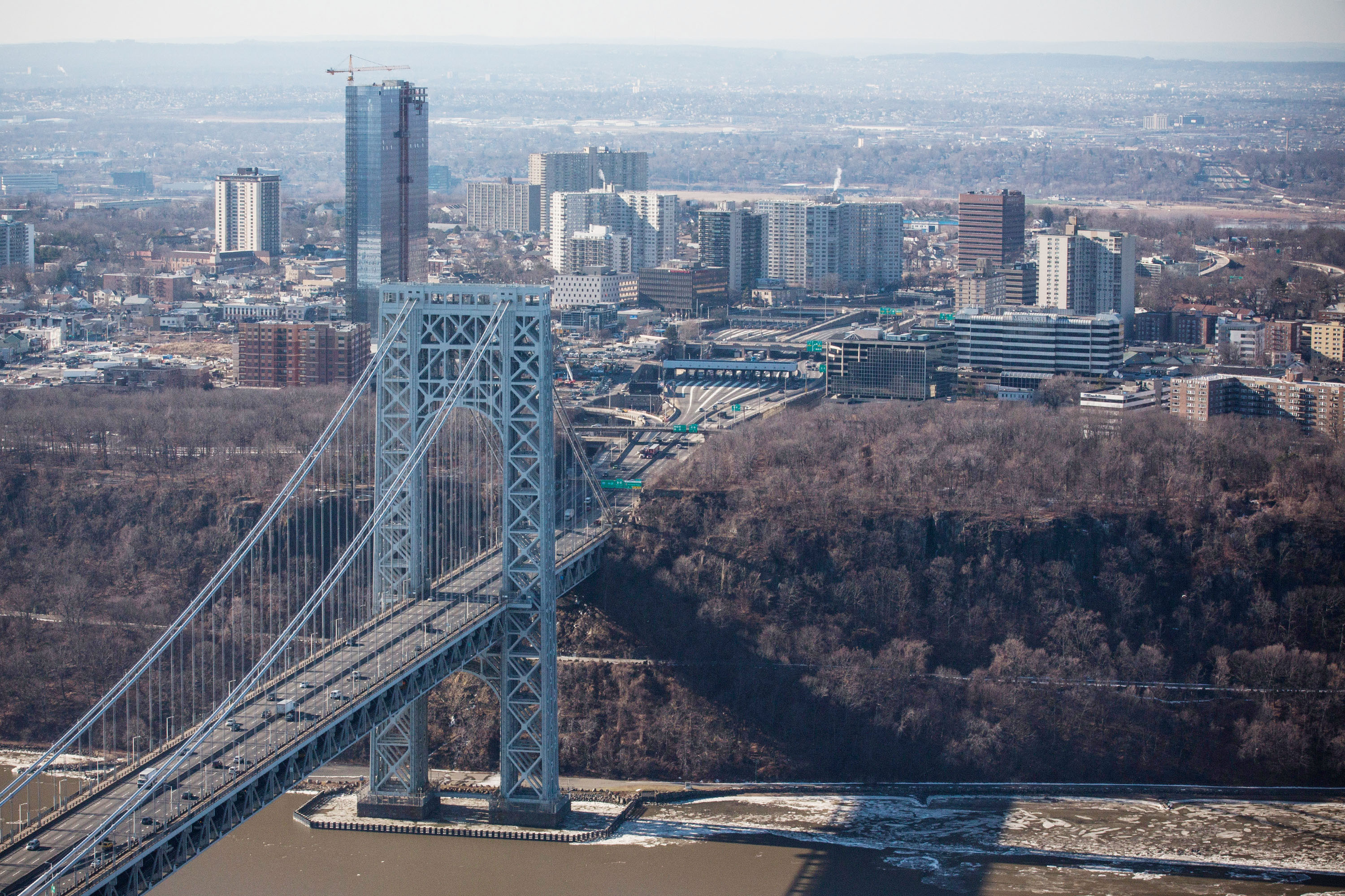 The New Jersey side of the George Washington Bridge, which connects Fort Lee, NJ, and New York City.