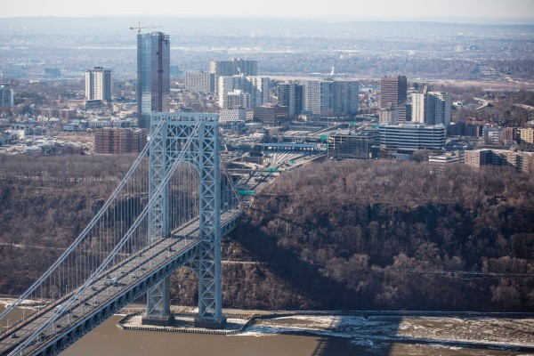The New Jersey side of the George Washington Bridge, which connects Fort Lee, NJ, and New York City. (Photo by Andrew Burton/Getty Images)
