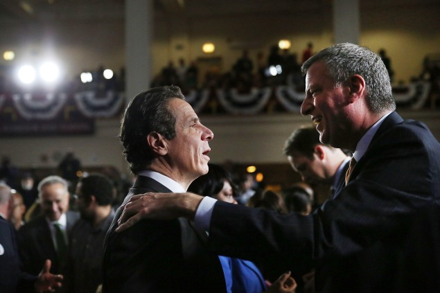 Andrew Cuomo and Bill de Blasio. (Photo: Spencer Platt/Getty)