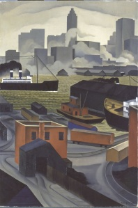'From Brooklyn Heights' (ca. 1925-1928) by Ault. (Courtesy the Newark Museum and Hudson River Museum)
