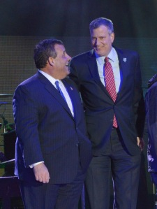 Bill de Blasio and Chris Christie together on stage at the Super Bowl Kickoff Spectacular at Liberty State Park on January 27, 2014 in Jersey City, New Jersey.  (Photo: Mike Coppola/Getty Images)