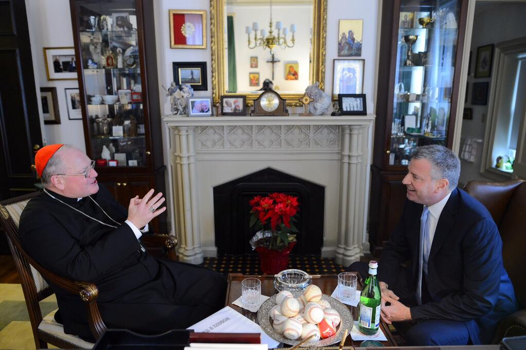 Bill de Blasio and Cardinal Dolan chatting today. (Photo: Twitter/NYC Mayor's Office)