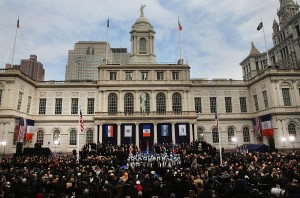 City Hall at today's inauguration event. (Photo: Spencer Platt/Getty)