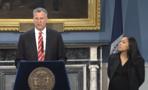 Bill de Blasio and Maria Torres-Springer at today's event.