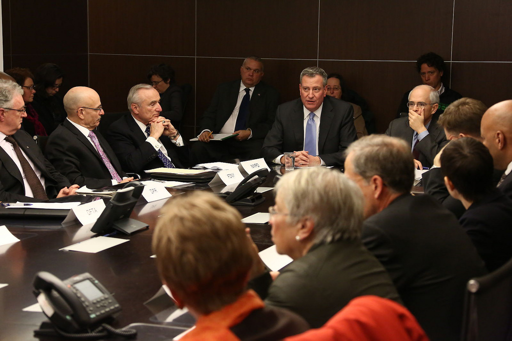 Mayor de Blasio at a meeting to discuss the storm. (Official photo: NYC Mayor's Office)