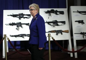 Carolyn McCarthy at a press conference advocating for assault weapons restrictions. (Photo: Alex Wong/Getty)