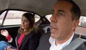 Tina Fey and Jerry Seinfeld in cars, getting coffee. (YouTube)