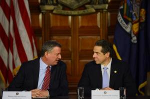 Andrew Cuomo and Bill de Blasio at their joint press conference in Albany. (Photo: Twitter/NYC Mayor's Office)