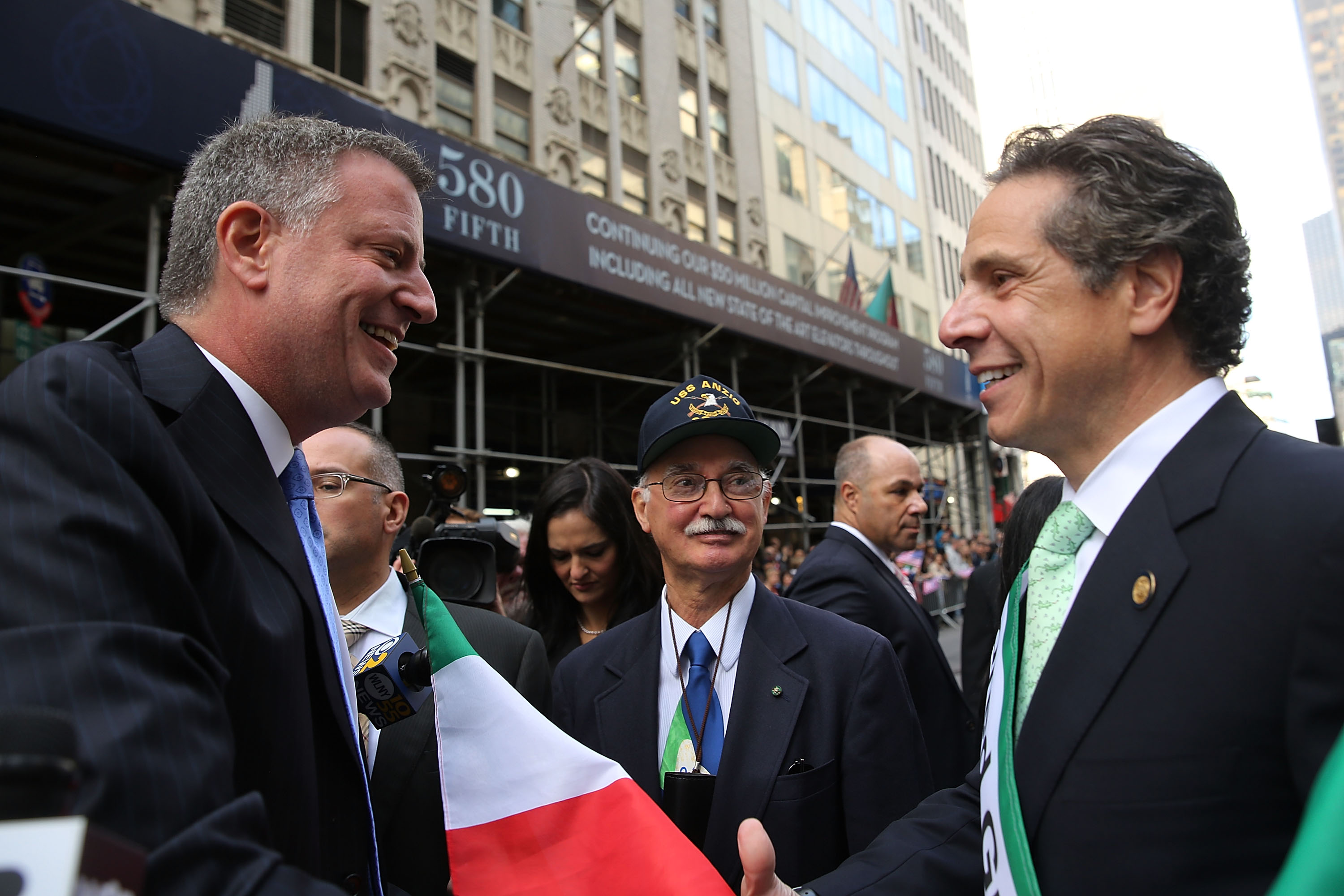 Bill de Blasio and Andrew Cuomo together at last year's Columbus Day Parade. This year, they didn't cross paths. (Photo: Spencer Platt/Getty Images)