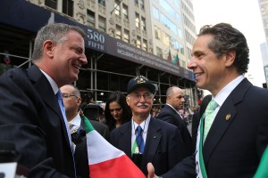Bill de Blasio and Andrew Cuomo together at last year's Columbus Day Parade. (Photo: Spencer Platt/Getty Images)