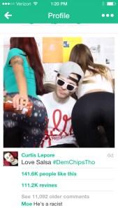 Curtis Lepore loving salsa. (Screenshot: Vine)
