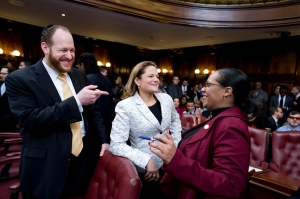 David Greenfield speaks with two of his most influential colleagues: Speaker Melissa Mark Viverito and Finance Committee Chair Julissa Ferreras. (Photo: NYC Council/William Alatriste)