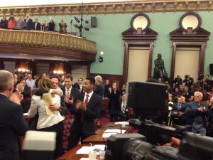 Dan Garodnick and Melissa Mark-Viverito embrace. (Photo: Twitter/jacobkornbluh)