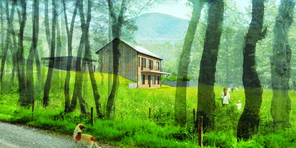 A rendering of Hudson Woods. (Lang Architecture)