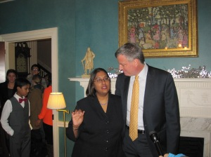 Bill de Blasio greets visitors to his open house at Gracie Mansion.
