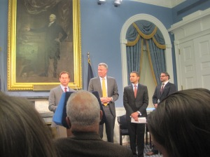 Bill de Blasio announcing his latest round of appointments at his first City Hall press conference.