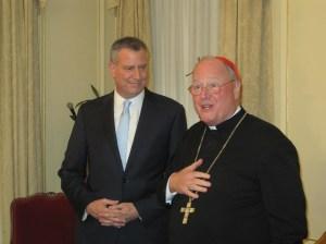 Bill de Blasio and Cardinal Dolan after their meeting today.